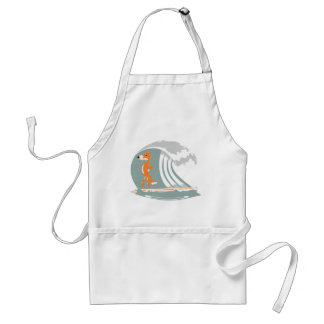 Fox Standing on a Surfboard Adult Apron