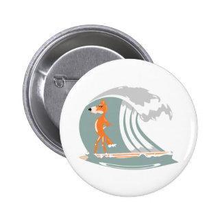 Fox Standing on a Surfboard Pinback Buttons