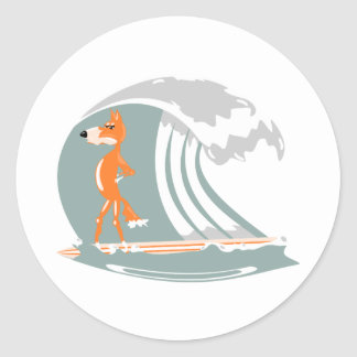 Fox Standing on a Surfboard Classic Round Sticker