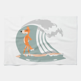 Fox Standing on a Surfboard Hand Towel