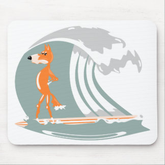 Fox Standing on a Surfboard Mouse Pad