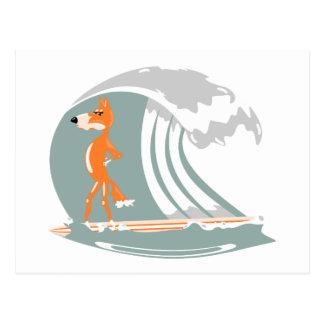 Fox Standing on a Surfboard Postcard
