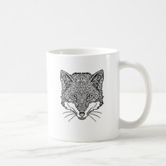 Fox-Tattoo art - Black line Illustration Coffee Mug