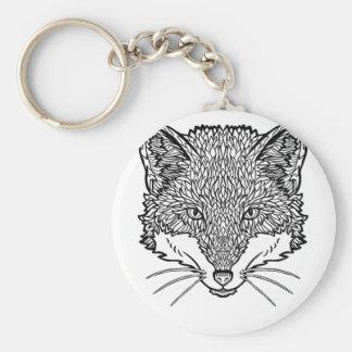Fox-Tattoo art - Black line Illustration Keychain