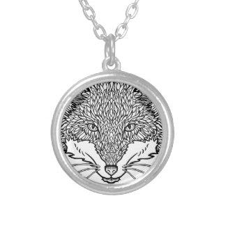 Fox-Tattoo art - Black line Illustration Silver Plated Necklace