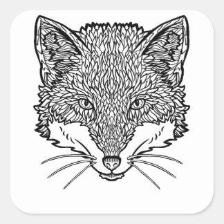Fox-Tattoo art - Black line Illustration Square Sticker