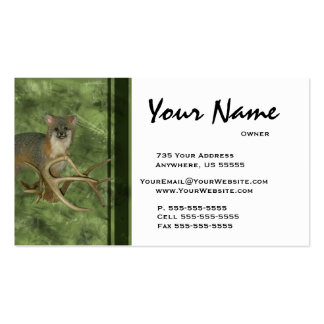 Fox Taxidermy Business Cards ~ Green