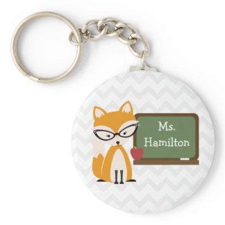 Fox Teacher At Chalkboard Keychain