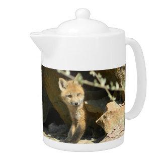 fox teapot, fox coffee pot, fox cub teapot