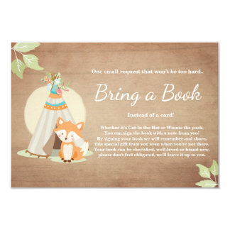 Fox Teepee Bring a book card Woodland Baby Shower
