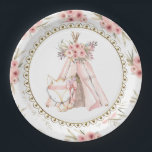 """Fox TeePee Tribal Baby Shower Paper Plates<br><div class=""""desc"""">Fox baby shower paper plates with adorable baby girl fox on a beautiful floral teepee background. These cute girls tribal fox and teepee baby shower paper plates are easily customized with text.</div>"""