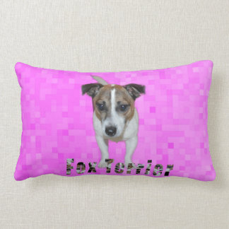 Fox Terrier And Fox Terrier Logo, Pink Lumbar Pillow