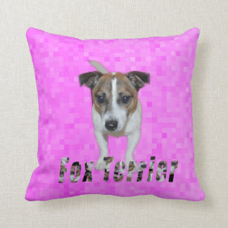 Fox Terrier And Fox Terrier Logo, Pink Throw Pillow