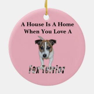 Fox Terrier And Fox Terrier Love Logo, Ceramic Ornament