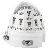 Fox Terrier And Logo, White Unisex Zipz Sneakers. Low-Top Sneakers