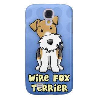 Fox terrier azul del alambre del dibujo animado samsung galaxy s4 cover