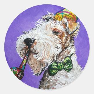 Fox Terrier Birthday Classic Round Sticker