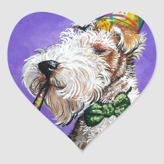 Fox Terrier Birthday Heart Sticker
