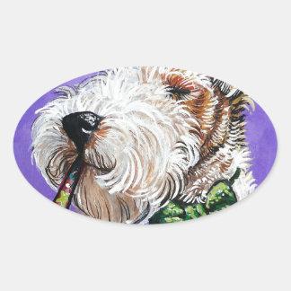 Fox Terrier Birthday Oval Sticker