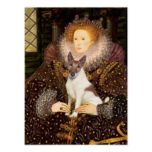 Fox Terrier (brwn-white)  -  Queen Elizabeth I Print