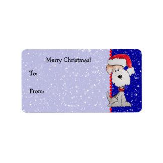 Fox terrier de Santa (personalizable) Etiqueta De Dirección