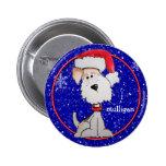 Fox terrier de Santa (personalizable) Pin