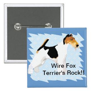Fox terrier del alambre - azul con el diseño blanc pins