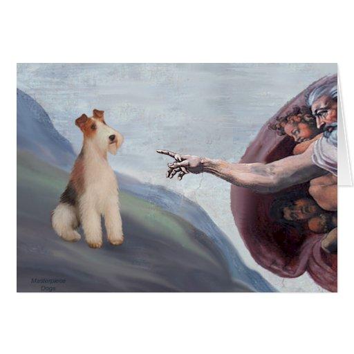 Fox terrier del alambre de P.M.-Dios (m) Tarjeton