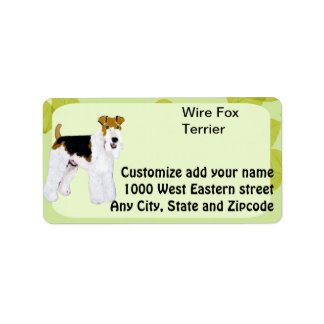 Fox terrier del alambre - diseño de las hojas del etiquetas de dirección