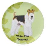 Fox terrier del alambre - diseño de las hojas del  platos