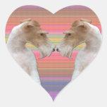 Fox terrier del alambre en amor pegatinas corazon personalizadas