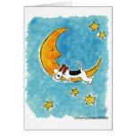 Fox terrier del alambre en la luna felicitaciones