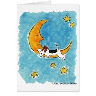 Fox terrier del alambre en la luna tarjeta de felicitación
