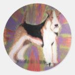 Fox terrier del alambre etiqueta redonda