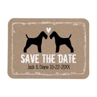 Fox terrier del alambre que casan reserva la fecha imán rectangular