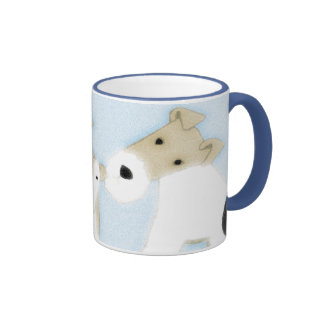 Fox terrier del alambre taza a dos colores