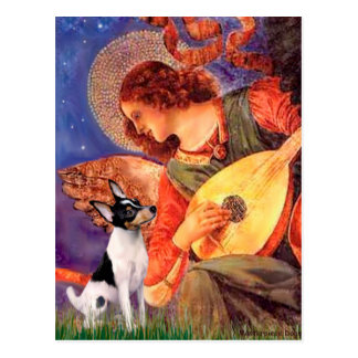 Fox terrier del juguete - ángel de la mandolina postal