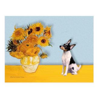 Fox terrier del juguete - girasoles tarjeta postal