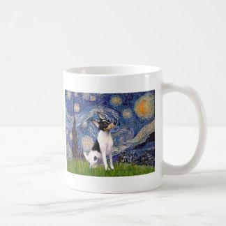 Fox terrier del juguete - noche estrellada taza de café