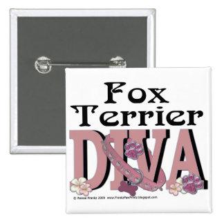 Fox Terrier Diva 2 Inch Square Button