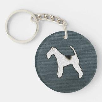 Fox Terrier Dog on Gray Blue Keychain