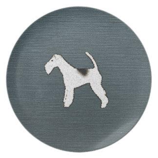 Fox Terrier Dog on Gray Blue Plate