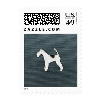 Fox Terrier Dog on Gray Blue Postage Stamps