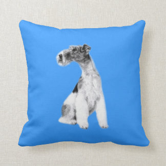 Fox Terrier Drawing Throw Pillow