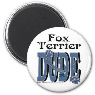 Fox Terrier Dude 2 Inch Round Magnet