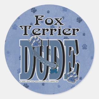 Fox Terrier DUDE Classic Round Sticker