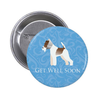Fox Terrier - Get Well Soon - Dog in Cone Pinback Buttons