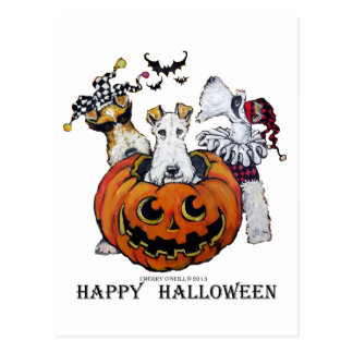 Fox Terrier Halloween Postcard