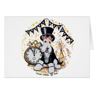 Fox Terrier Happy New Year Card