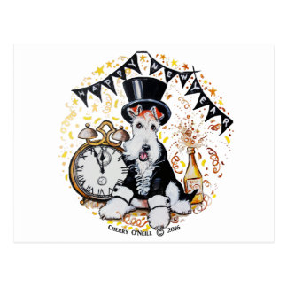 Fox Terrier Happy New Year Postcard